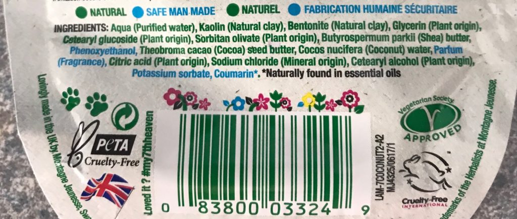 ingredient list 7th Heaven Coconut Cream Hydrating Mask, neversaydiebeauty.com