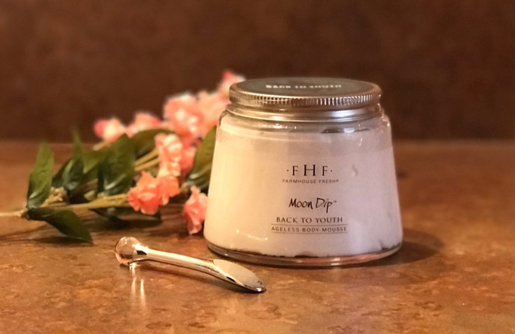 jar and wand for Farmhouse Fresh Moon Dip Body Mousse, neversaydiebeauty.com