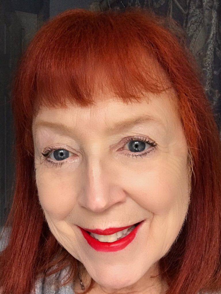 me wearing Sephora Cream Lip Stain in Always Red, neversaydiebeauty.com