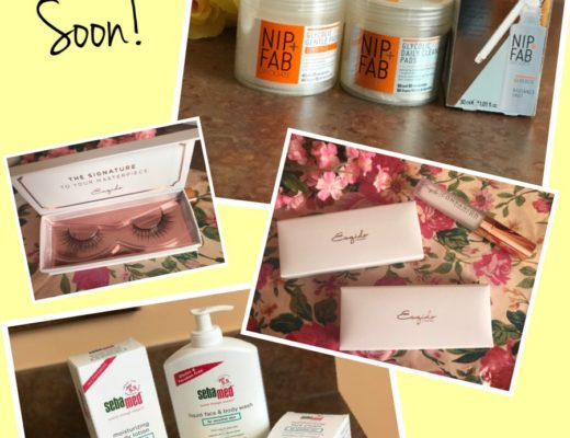 collage of three sets of cosmetics I'm trying out for review, neversaydiebeauty.com